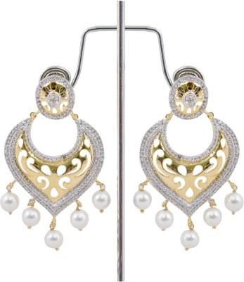 Desire Pearl And Hanging Brass Drop Earring