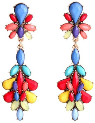 KooKoo Fashion Colorful Gemstone Earring Resin, Alloy Dangle Earring