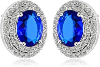 Wearyourfashion Sparkling Oval Shape AAA Swiss Alloy Stud Earring