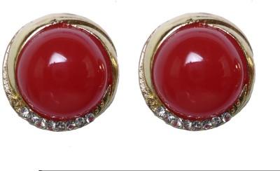 Modish Look Red Pearl Design Brass Stud Earring