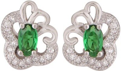 TUAN beautiful curved shaped Cubic Zirconia, Emerald Sterling Silver Stud Earring