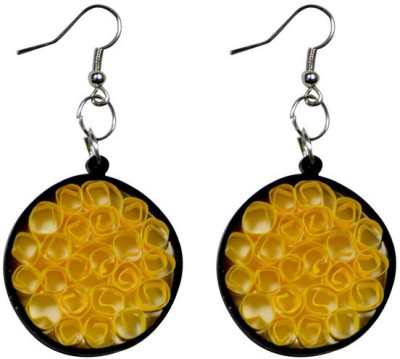 Trendmania Black and yellow round spotted paper quilled earrings Paper Dangle Earring
