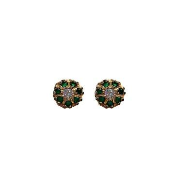 Blingxing Green Flower Metal, Alloy Stud Earring