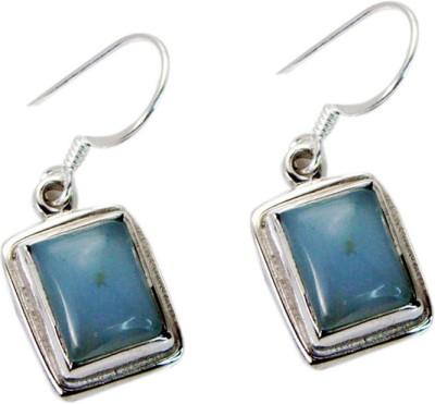 Riyo Captivating Blue Chalcedony Chalcedony Sterling Silver Dangle Earring