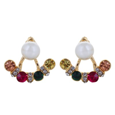 Fayon Fabulous Statement Multi Color Rhinestone With Pearl Crystal Alloy Stud Earring