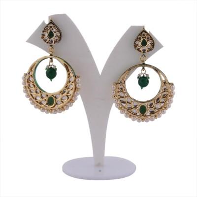 S S Mart Glass Kundan Bali Alloy Drop Earring
