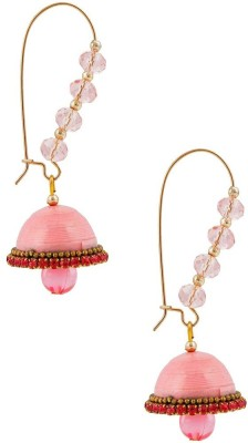 Jaipur Raga Designer Pink Hancrafted Kidney Hook Jhumka Brass Jhumki Earring