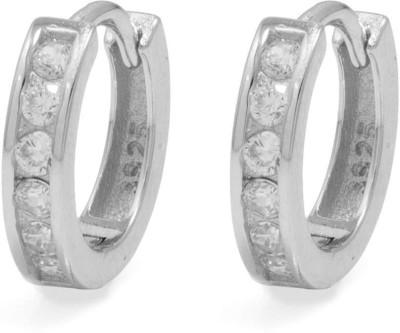 Factorywala CZ EMBELLISHED Sterling Silver Hoop Earring
