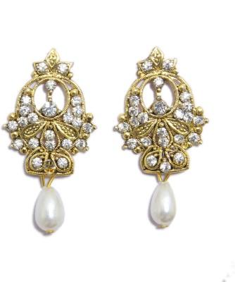 Greek Sojourn F3B52 Pearl Brass Drop Earring
