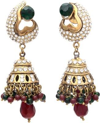 My Sara In Multicolor Cubic Zirconia Brass, Copper Jhumki Earring