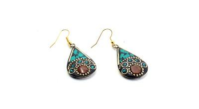 Zidox Blue Coloured Handmade Brass Dangle Earring