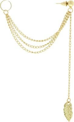 Oomph Gold Drop Leaf Tassel Fashion Jewellery Ear Cuff Earring for Women & Girls (Single Piece) Metal Cuff Earring