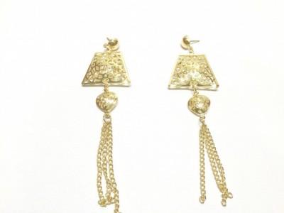 Arkina Diamonds Rhombus gold Brass Dangle Earring