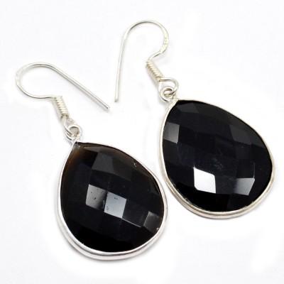 Silvesto India 1481 Onyx Sterling Silver Drop Earring, Dangle Earring
