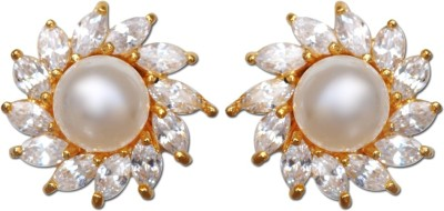Enzy Exclusive White Cz & Golden Plated Tops Alloy Stud Earring