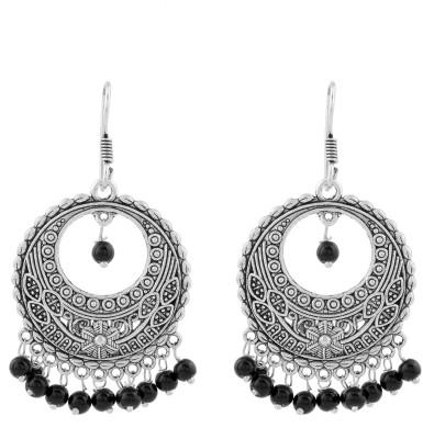 Silvery Metal Earring black Brass, Copper Chandelier Earring