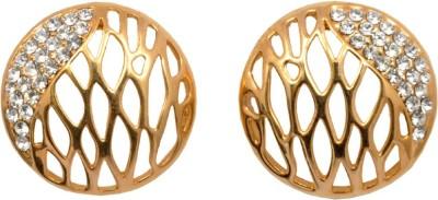 Royal Sterling Golden & Diamond Alloy Stud Earring