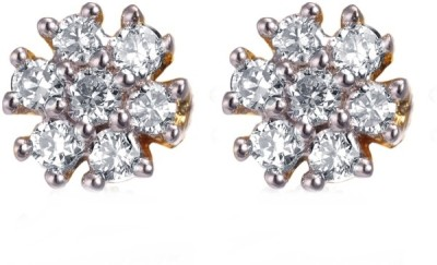 Enzy Estonish Gold And Rhodium Plated Cz Tops Alloy Stud Earring