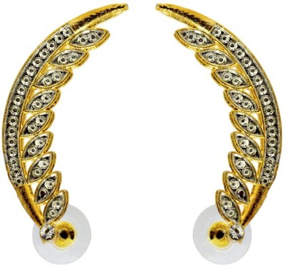 Aanya Creations Alloy embossed design with high quality silver and golden colours polish work Alloy Cuff Earring
