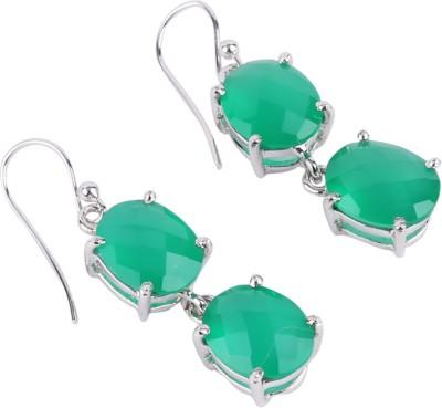 Krishna Pearls & Jewellers Onyx Silver Dangle Earring