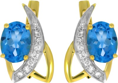 Gold24.in All Time Diamond, Topaz Yellow Gold Hoop Earring