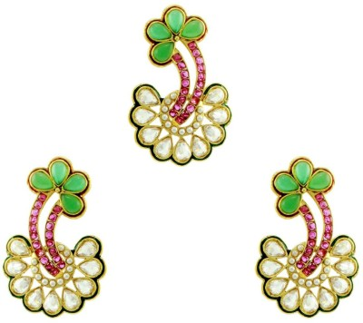 Orniza Rajwadi Earrings in Ruby Color and High Gold Polish Brass Dangle Earring