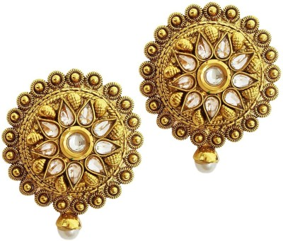 Mehrunnisa Traditional Ethnic Round Gold Tone Kundan Crystals & Pearl Copper Chandelier Earring