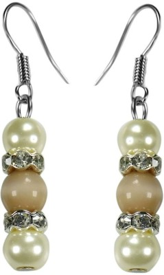 Crystals & Beads Light Brown Colour Round Cats Eye & White Pearl Bead with Diamond Spacer Acrylic, Glass, Crystal Dangle Earring