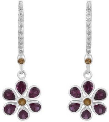 VelvetCase Multi Gemstone 925Silver Floral Earrings Topaz Silver Hoop Earring