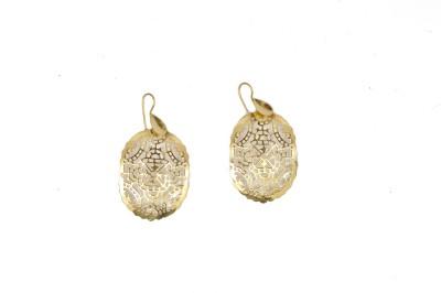 Gurjari Gold Work Brass Dangle Earring