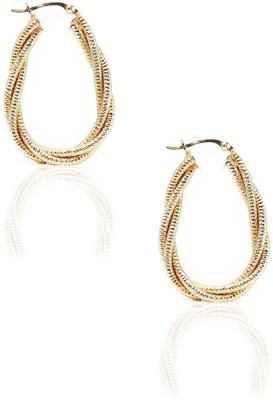 LeCalla Modern Twist to Gold Sterling Silver Hoop Earring