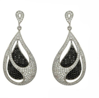 Glitz Design GlitzDesign Black & White Double Tear Drop Earrings Cubic Zirconia Sterling Silver Drop Earring at flipkart