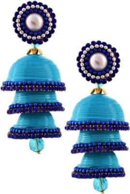 RR ENTERPRISES Hancrafted Single Stud Blue Triple Jhumka Paper Jhumki Earring