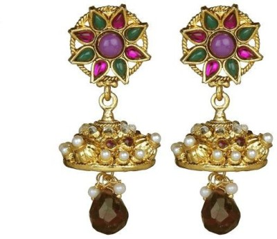 ACW Traditional Jhumka Studded with Purple Green Stones and Pearls Metal Jhumki Earring