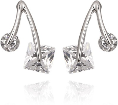 Wearyourfashion CZ Square Round Pair Austrian Crystal Alloy Stud Earring