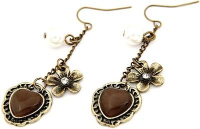 Jewel Touch Lined Coffee Opal Peach Heart Charm Alloy, Resin Dangle Earring