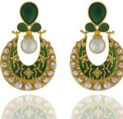 Happyshoppi Swing Shape Pearl Brass, Copper Jhumki Earring
