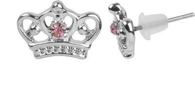 NeedyBee Pink Rhinestone Studded Crown Shape For Baby Girls Metal Stud Earring