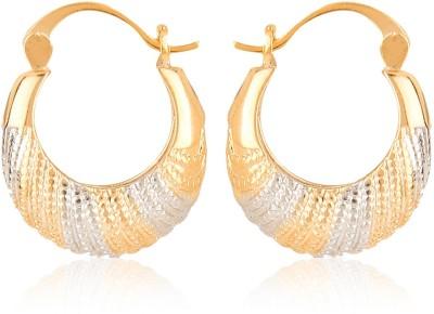 Moedbuille Golden Hoop Earrings [MBER00344] Cubic Zirconia Alloy Hoop Earring