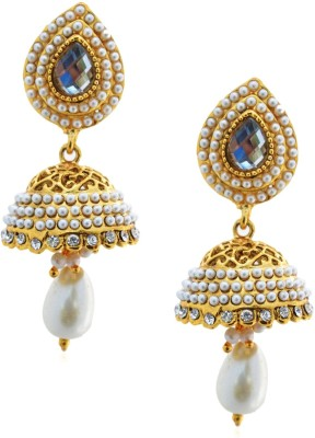 Royal Bling Filigree Pearly Golden Metal Jhumki Earring