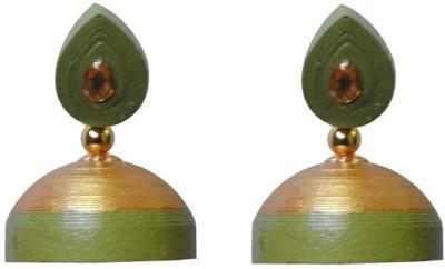 Jyotis Creations Gold And Light Green Paper Jhumki Earring