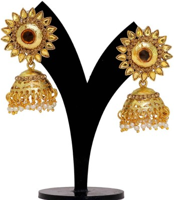 Jaipur Mart Golden Crystals Round Kundan Tops Alloy Jhumki Earring