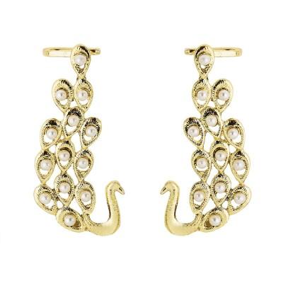 BeBold Peacock Pearl Ear Cuff Brass Cuff Earring