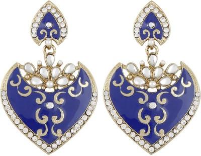 Radius Blue Minakari Style Zircon Metal Drop Earring