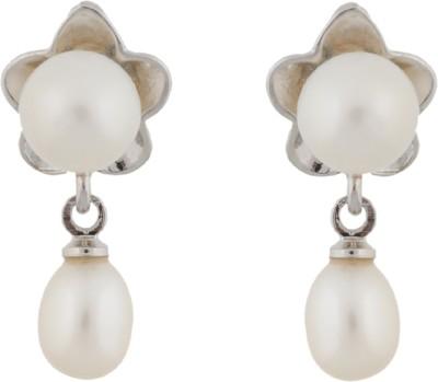 Janki Jewellers Flower Shape Pearl Alloy Drop Earring