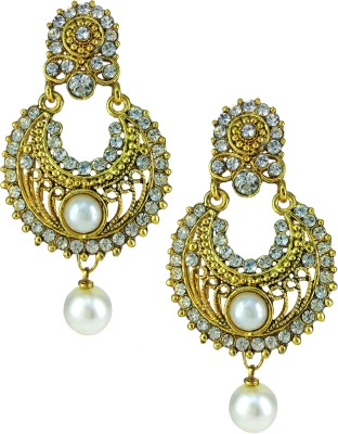 YUVEN Chandbali Zircon Brass, Alloy Chandbali Earring