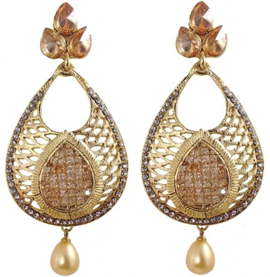 Hotpiper Classic Golden Cubic Zirconia, Pearl Alloy Drop Earring