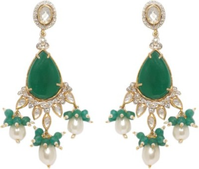 Treta Fashionable Gloden Earring With Green And White Colored Stons And White Drop Moti Silver Drop Earring