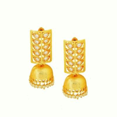 Art Nouveau Fashion Fusion AD Stone Brass Jhumki Earring