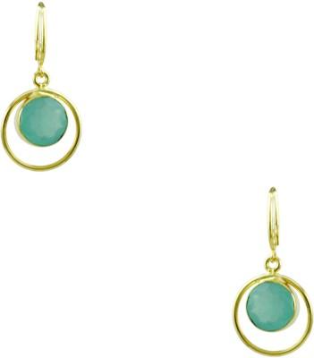 Orniza Victorian Earrings in Aqua Color and High Gold Polish Brass Hoop Earring